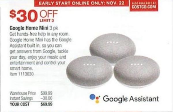 Costco Black Friday Discounts Include Google Home Mini 3